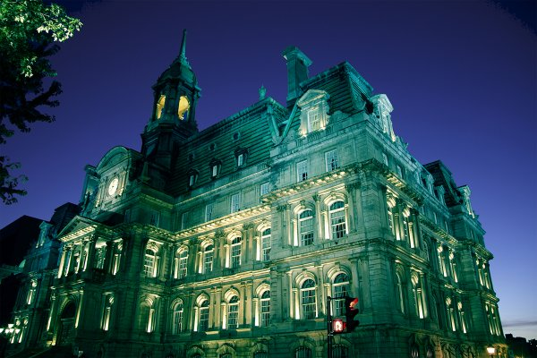 First time ever teal lighting of Montreal's City Hall, initiated by www.ByeByeAllergies.ca