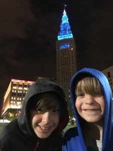 Kids standing in front of the Terminal Tower.